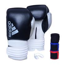 Kit Luva Boxe Adidas Hybrid 300 Preto/Branco com 3 Bandagens e Protetor Bucal -