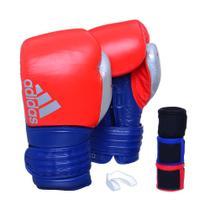 Kit Luva Boxe Adidas Hybrid 300 Vermelho/Azul com 3 Bandagens e Protetor Bucal -