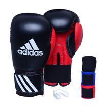 Kit Luva Boxe Adidas Response Preto/Vermelho com 3 Bandagens e Protetor Bucal Simples -