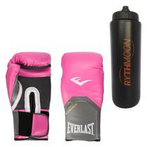 c4a93ada2 Kit Luva Boxe Elite Pro Style Everlast Rosa 08oz + Squeeze Automático 1lt -  Rythmoon