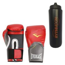 Kit Luva Boxe Elite Pro Style Everlast Vermelha 12oz + Squeeze Automático 1lt - Rythmoon