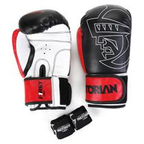 Kit Luva Boxe/Muay Thai First Pretorian 12 Oz + Bandagem + Protetor Bucal -
