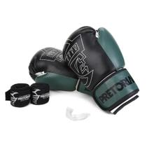 Kit Luva Boxe/Muay Thai First Pretorian 12 Oz + Bandagem + Protetor Bucal -
