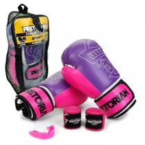 Kit Luva Boxe Muay Thai First Rosa Bandagem Bucal Pretorian 10OZ -