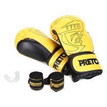 Kit Luva Boxe/Muay Thai Pretorian Core 12 Oz + Bandagem + Protetor Bucal -