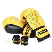 Kit Luva Boxe/Muay Thai Pretorian Core 14 Oz + Bandagem + Protetor Bucal -