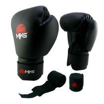 Kit Luva Boxe Muay Thai Prospect Mks Combat Preto + 1 Bandagem Preto 2,2m -