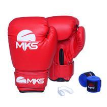 Kit Luva Boxe Prospect Mks Combat Vermelha com Bandagem Azul e Bucal Simples -