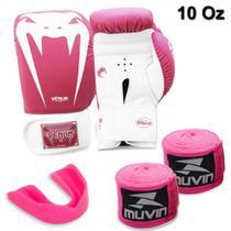 Kit Luva Boxe Venum Giant Rosa 10 Oz + 2 Bandagens + Protetor Bucal -