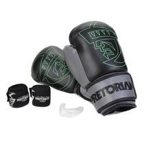 Kit Luva de Boxe/Muay Thai First Pretorian 10 Oz + Bandagem Elástica + Protetor Bucal -