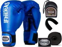 Kit Luva de Boxe Muay Thai MMA Bandagem Bucal 14oz Azul - Fheras