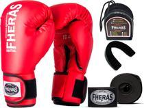 Kit Luva de Boxe Muay Thai MMA Bandagem Bucal 16oz Vermelha - Fheras