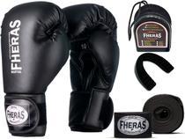 Kit Luva de Boxe Muay Thai MMA Bandagem e Bucal 10oz Preto - Fheras