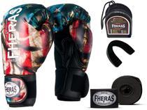 Kit Luva de Boxe Muay Thai MMA Bandagem e Bucal 12oz EUA - Fheras