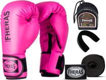 Kit Luva de Boxe Muay Thai MMA Bandagem e Bucal Rosa 08oz - Fheras