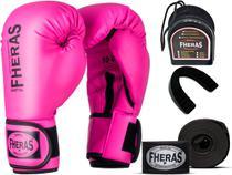 Kit Luva de Boxe Muay Thai MMA Bandagem e Bucal Rosa 12oz - Fheras