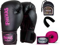 Kit Luva de Boxe Muay Thai MMA Pro Bandagem Pink Bucal 8oz - Fheras