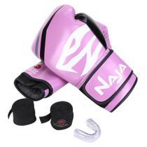 Kit Luva de Boxe Muay Thai Naja First 12 oz + Bandagem + Protetor Bucal -