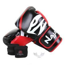 Kit Luva de Boxe Muay Thai Naja First 12oz + Bandagem + Protetor Bucal -