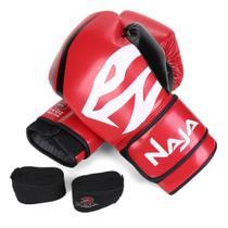 Kit Luva de Boxe Muay Thai Naja First 14 oz + Bandagem + Protetor Bucal -