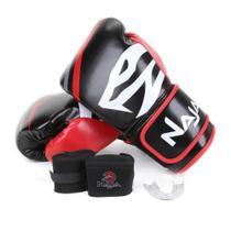 Kit Luva de Boxe/ Muay Thai Naja First Extreme 10 oz + Bandagem + Protetor Bucal -