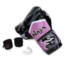 Kit Luva de Boxe / Muay Thai Naja New Extreme + Bandagem + Protetor Bucal 10 Oz -