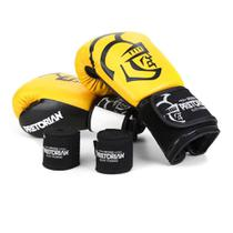 Kit Luva de Boxe/Muay Thai Pretorian Elite 10 Oz + Bandagem + Protetor Bucal -