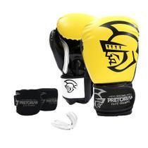 Kit Luva de Boxe/Muay Thai Pretorian Elite 16 Oz + Bandagem Elástica + Protetor Bucal -
