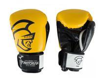 Kit Luva de Boxe/Muay Thai Pretorian Elite  Preto/ Amarelo + Bandagem + Protetor bucal -