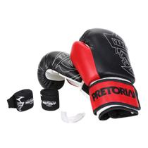Kit Luva de Boxe/Muay Thai Pretorian First 14 Oz + Bandagem + Protetor Bucal -
