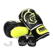 Kit Luva de Boxe/Muay Thai Pretorian Performance 12 OZ + Bandagem + Protetor Bucal -