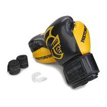 Kit Luva Muay Thai Boxe Pretorian Black Bandagem Bucal C Bag -