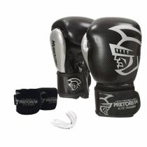 Kit Luva Muay Thai Boxe Pretorian Elite Bandagem Bucal C Bag -