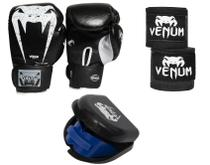 Kit luva muay thai boxe venum 12oz + bandagem 4m + protetor -
