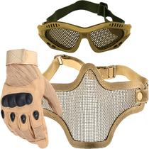 a044e4446 Kit Luva Tática Dedo Completo + Máscara de Tela + Óculos Telado - Bege -  Renascença