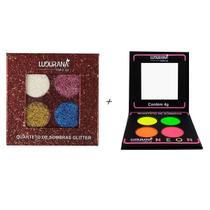 Kit Luxo 2 Quartetos De Sombras Neon Glitter Ludurana -