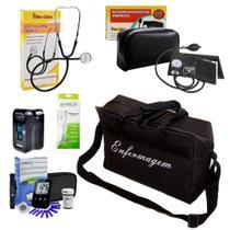 Kit Luxo da Enfermagem Completo com Medidor de Glicose Oximetro Bolsa Preta - Premium