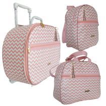 Kit Luxo mala maternidade bebê com carrinho, bolsa e mochila Chevron Salmão 3 peças - Baby Barn