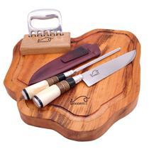 """Kit luxurious design - tábua de corte rústica  + conjunto faca aço inox 8"""" e chaira + garra de urso kittacd0009 - Woodbull"""