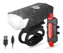 Kit Luz de Segurança Bicicleta Recarregável USB LED Sinalizador Farol - SuaWin