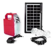 Kit Luz Emergencia Solar Luminaria placa energia USB Celular Bateria Lampiao 3 lampadas LED - Economia Solar
