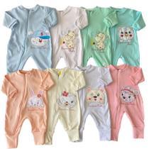 Kit Macacão Bordado em Suedine 4 Peças Bebê - Pequenino Baby