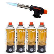 Kit Maçarico Automático Portátil Com Controle de Chama + 4 Recargas de Gás - Globalmix
