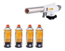 Kit Maçarico Automático Portátil Pro Branco Gourmet Com Controle de Chama + 4 Recargas de Gás - Globalmix