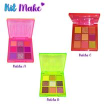 Kit Make 1 - Conjunto com 3 Paleta de Sombra 9 Cores Neon Jasmyne Laranja A B C -