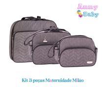 Kit Mala + Bolsa G + Bolsa P Maternidade Milão Cinza/Preto - Lilian baby