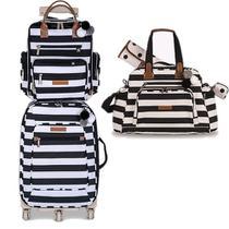 Kit mala de rodinha com bolsa de maternidade e mochila Brooklin preta e branca - Masterbag Baby -