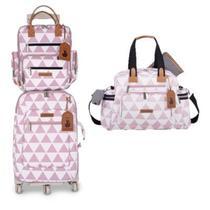 Kit mala de rodinha com bolsa de maternidade e mochila Manhattan rosa - Masterbag Baby -