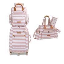 Kit mala maternidade com rodinha, bolsa e  mochila Brooklin Rosa - Masterbag Baby -
