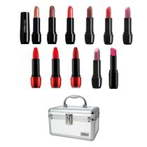 Kit maleta de maquiagem semi -profissional batons pequena cor prata com 12 itens básicos - Bellaoggi